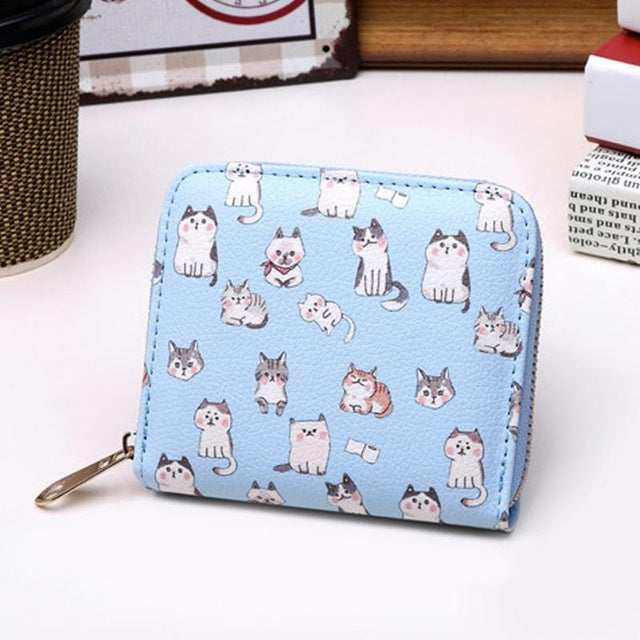 Mini PU Leather Cat Wallets