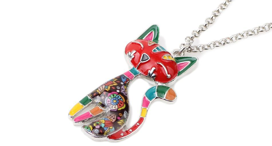 Enamel Egyptian Cat Necklaces