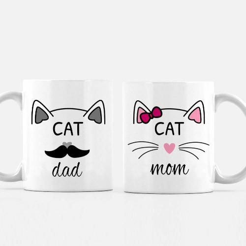 Cat Mom, Cat Dad Ceramic Tea Coffee Mug