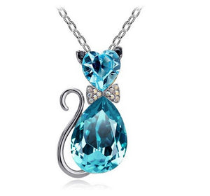Austrian crystal Cat  Pendant Chain - Blue