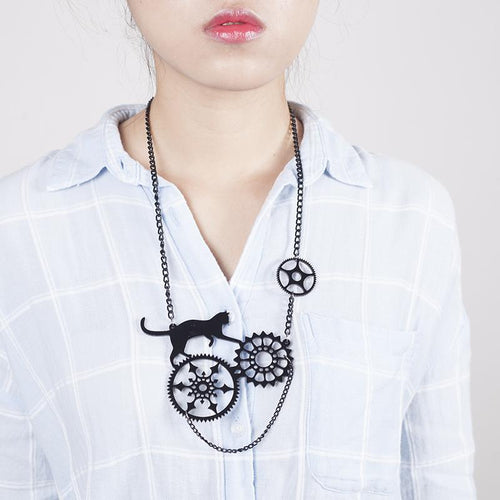 Mechanical Black Cat Necklace and Earrings