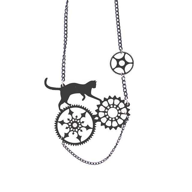 Mechanical Black Cat Necklace and Earrings-Mewcatx