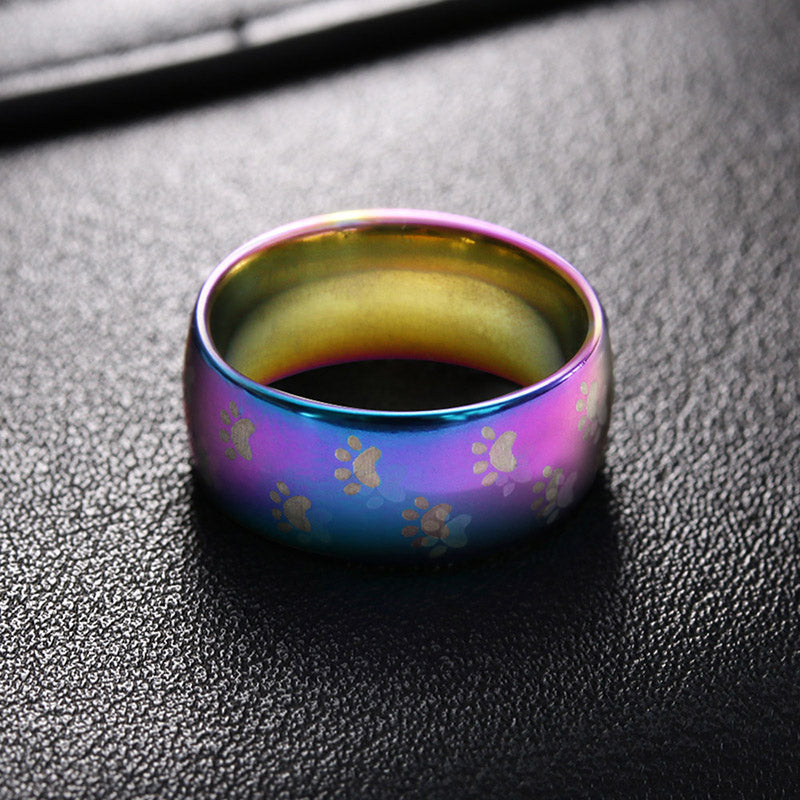 Rainbow cat paw print ring Stainless Steel