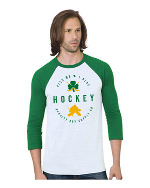 Kiss Me I Play Goalie Raglan