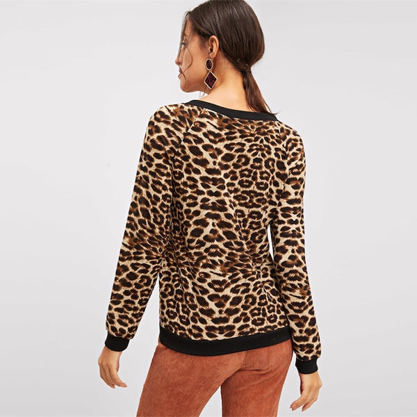 V-neck Raglan Sleeve Leopard Print Winter Sweatshirt