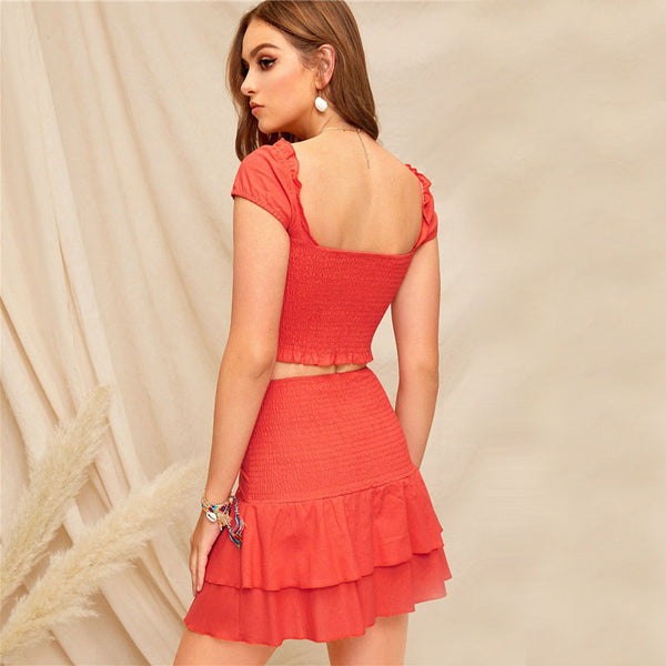 Orange Smocked Crop Top And Tie Waist Layered Ruffle Skirt