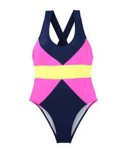 One-piece Swimwear Multi Color Patchwork Beach Bodysuit