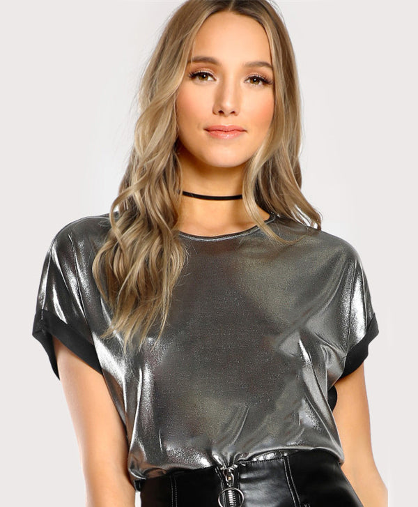 Roll Cut Coated Silver T-shirt