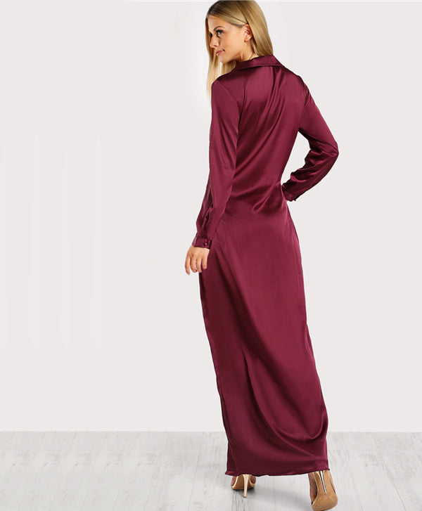Burgundy V Neck Satin Party Dress