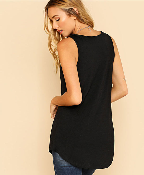 V Neck Tank Top Black
