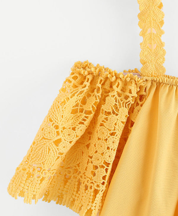 Lace Sleeve Yellow Blouse
