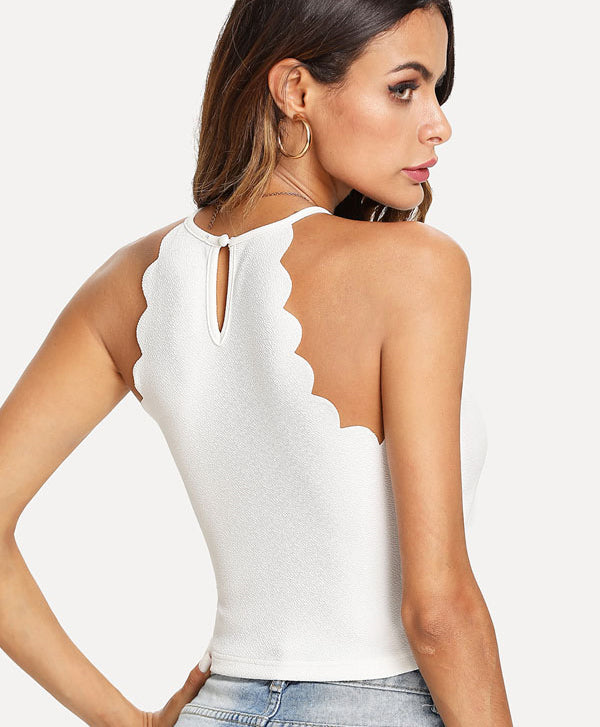 White Solid Cami Top