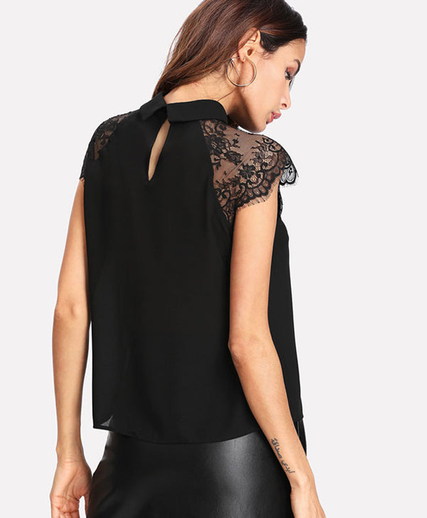 Blouse with Floral Lace Black