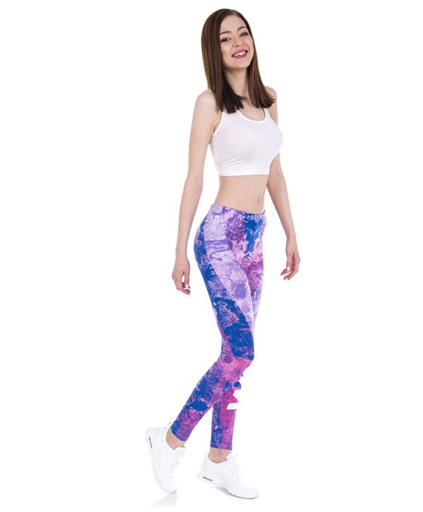 Marble Stripes Purple Printing Legging