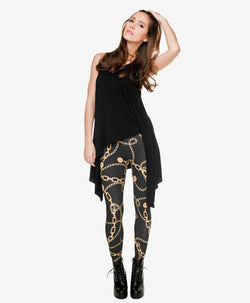 Full Length Gold Chains Printing Legging