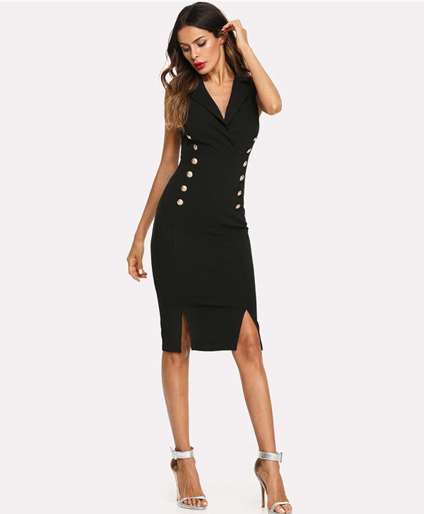 V Neck Sleeveless Black Dress