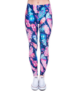 Feathers Color Printing Fitness Legging