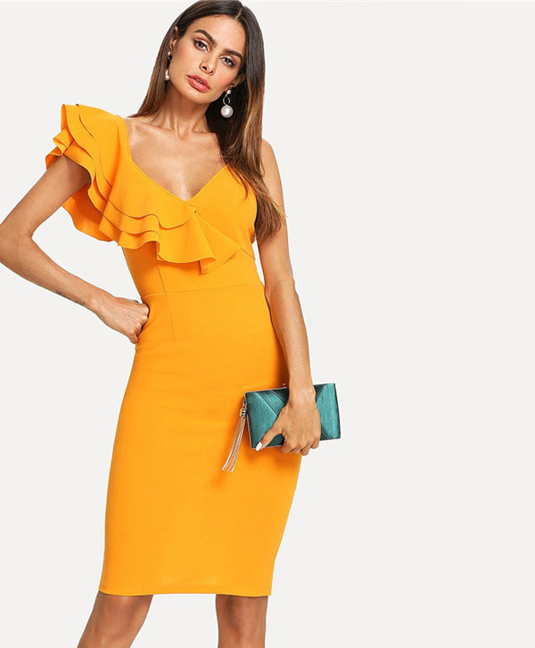 Sleeveless Ruffle V Neck Dress