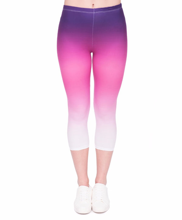 Gradient Color Mid-Calf 3/4 Capri Legging