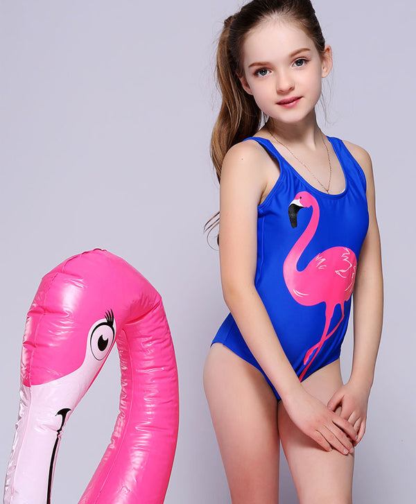 New Animal Print Cartoon Bird Swimwear Sports Girls Bodysuit