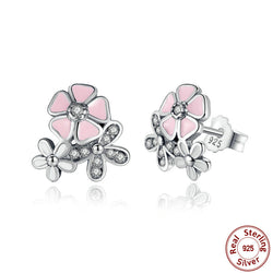 Poetic Daisy Cherry Blossom Drop Earring