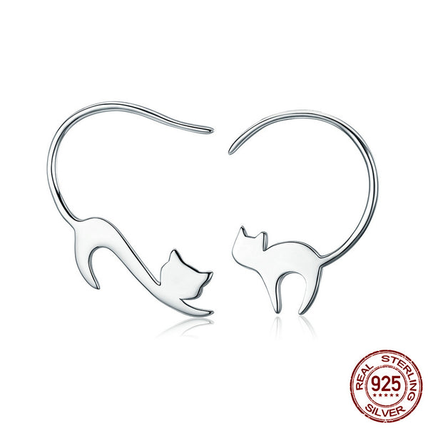 Silver Cute Napping Little Cat Drop Earring