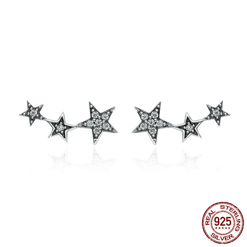 Authentic Silver Sparkling Star Stud Earring