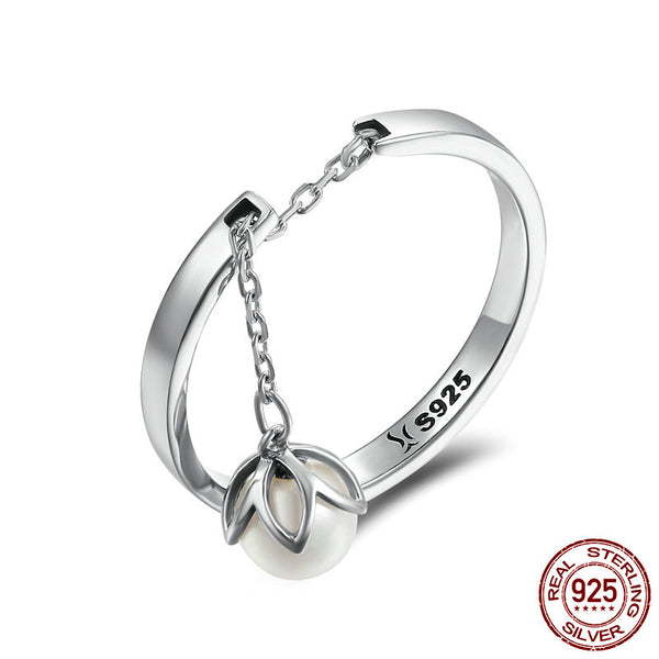 Silver Tears Of Flowers Dangle Open Ring