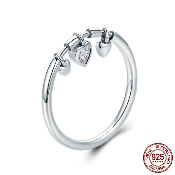 Silver Glittering Heart Clear Ring