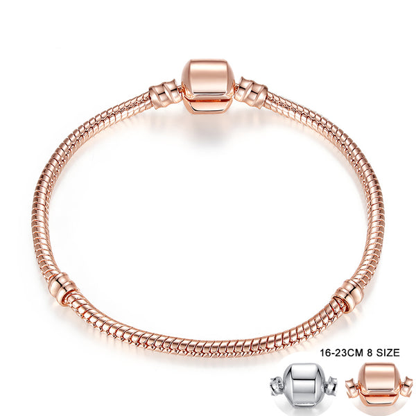Rose Gold Color & Silver Snake Chain Bracelet