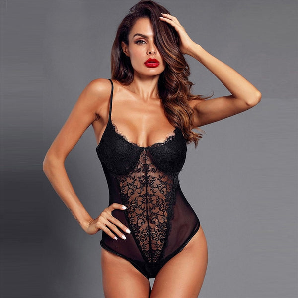 Eyelash Lace And Mesh Teddy Bodysuit Lingerie