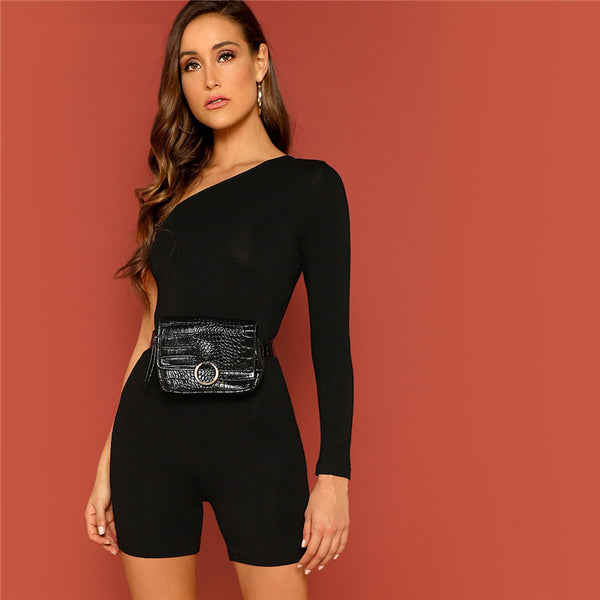 Black Solid One Shoulder Skinny Casual Romper