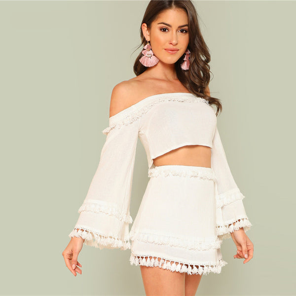 Off the Shoulder Tassel Trim Crop Top and Skirt Set