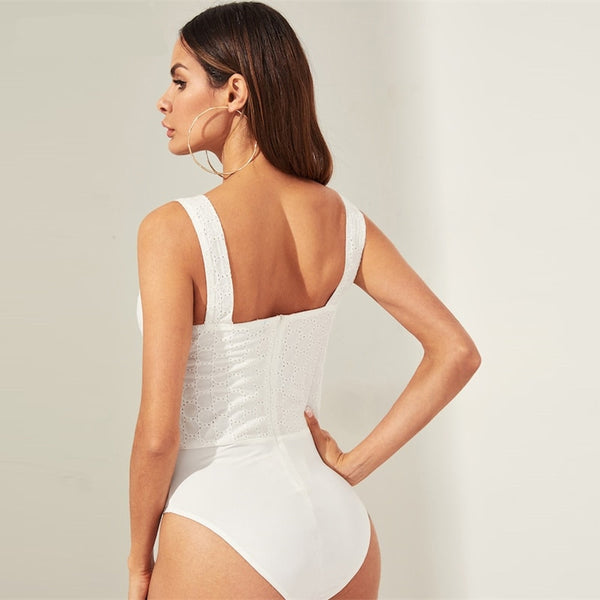 Scoop Neck Lace-up Front Eyelet Fitted Sexy Bodysuit