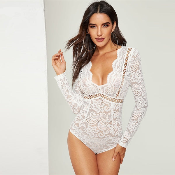 V-Neck Scalloped Lace Skinny Sexy Bodysuit