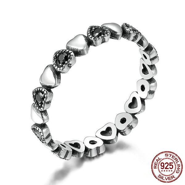 Silver Heart Black Stackable Ring