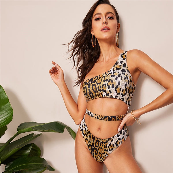 Leopard Print Cut Out One Shoulder One Piece