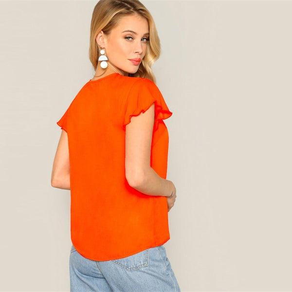 Orange Solid Cut Out Button Front Casual Blouse