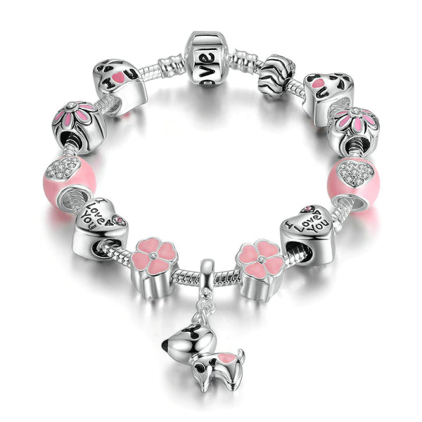 Lovely Dog Pink Heart Flower Charms Bracelet