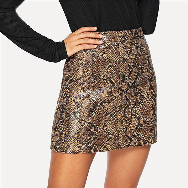 Snake Skin Print Single Breasted Button Skirt