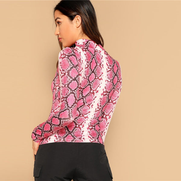 Stand Collar Snake Skin Print Form Fitting T-Shirt