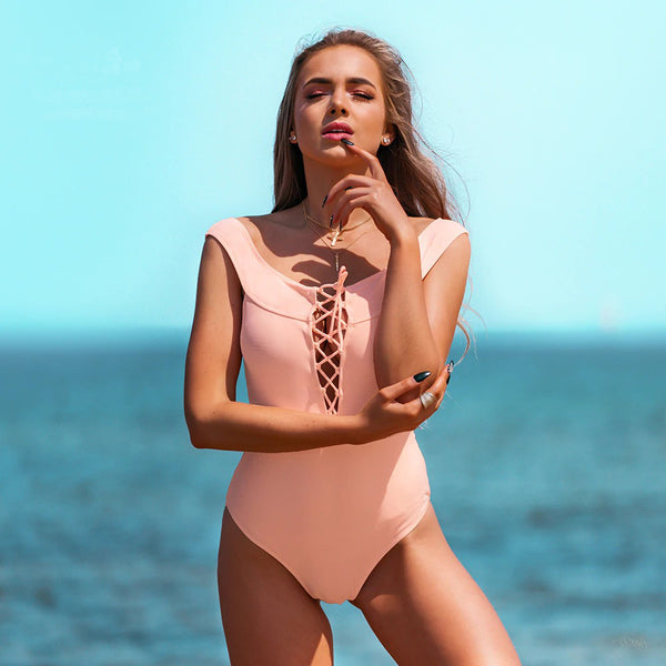 Pink Lace-Up One-Piece
