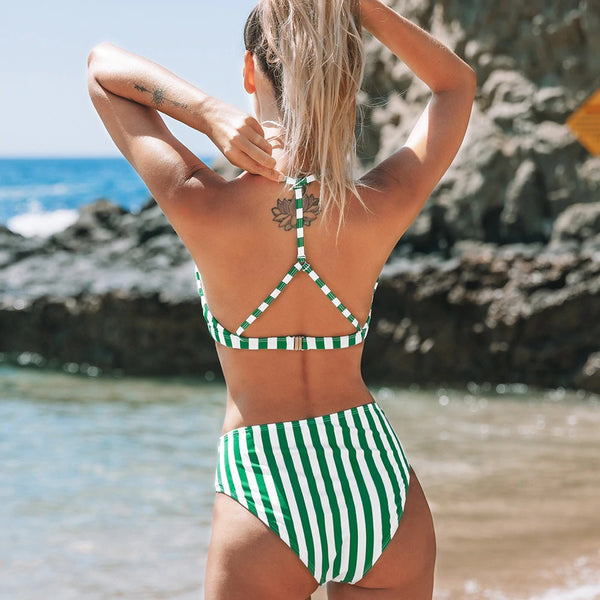 Green and White Striped High-Waist Bikini Set