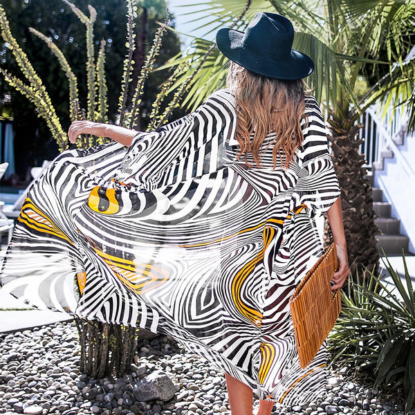 Black White And Yellow Zebra Print Bikini Cover Up