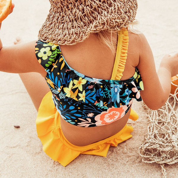 Floral Ruffles Bikini Set Kids Bathing Suit