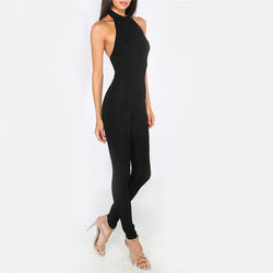 Black Slim Backless Jumpsuit