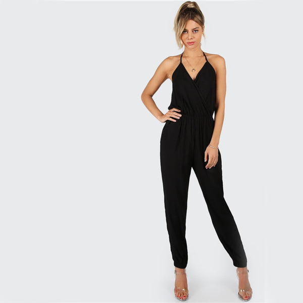 Black Backless Casual Jumpsuit