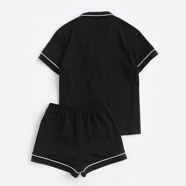 Black Short Sleeve Pajama Set