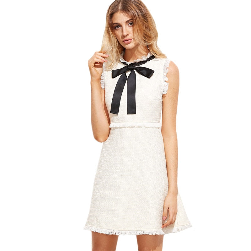 Bow Tie Neck Elegant Frayed Trim Tweed Dress