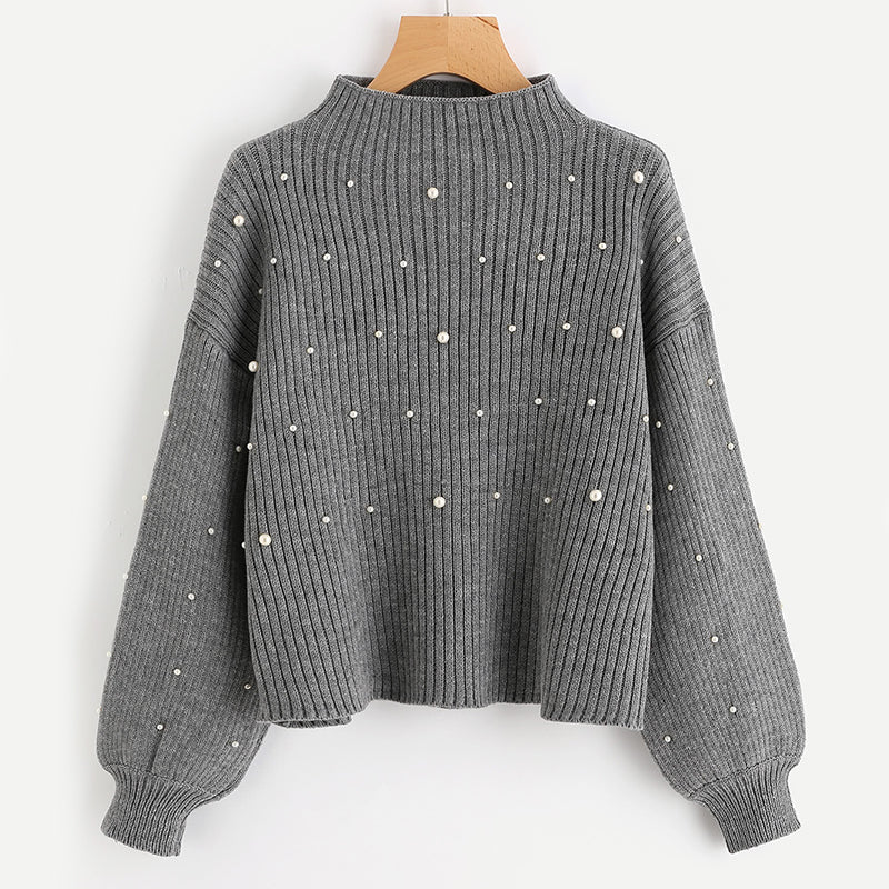 Pearl Beaded Long Sleeve Sweater